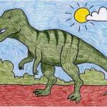تعلم رسم ديناصور بالصور