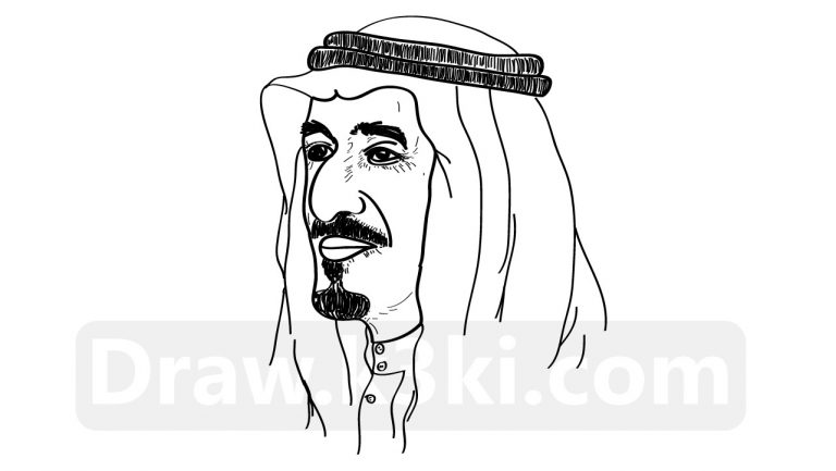 رسمة الملك سلمان تعلم رسم الملك سلمان خطوة بخطوة تعلم الرسم