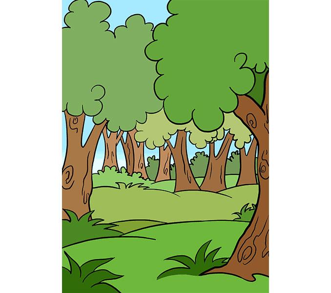 رسم غابة